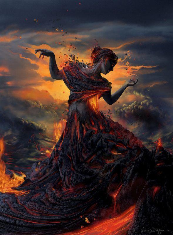 Femme sortant d'un volcan